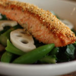 Hemp Crusted Salmon, Chinese Broccoli, Lotus, Peas, & Yuzu Ponzu | Dr. Weil's Healthy Kitchen
