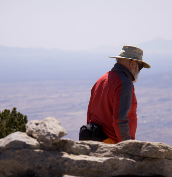 Dr. Weil climbs rincon Peak near his home in Tucson, Arizona.