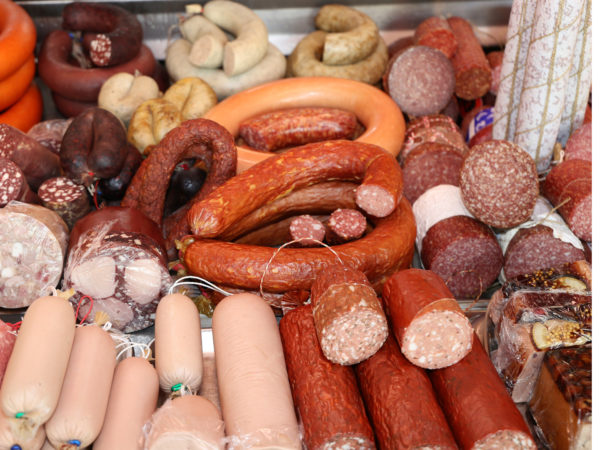 Variety of sausage products in a butcher´s shop
