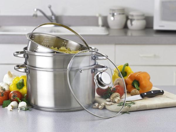 Pasta, vegetable multi-cooker on kitchen counter