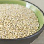 Close-up Black Bowl of Uncooked Quinoa