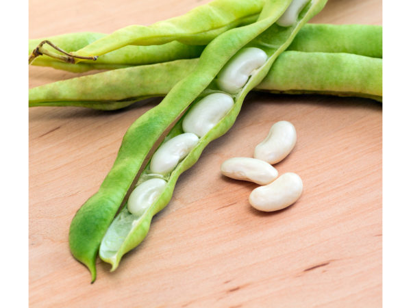 green pod white beans close-up on a wooden table. vegetables, cereals. macro..