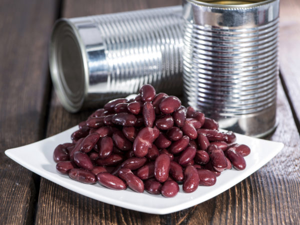 Kidney Beans on a plate with cans in the background