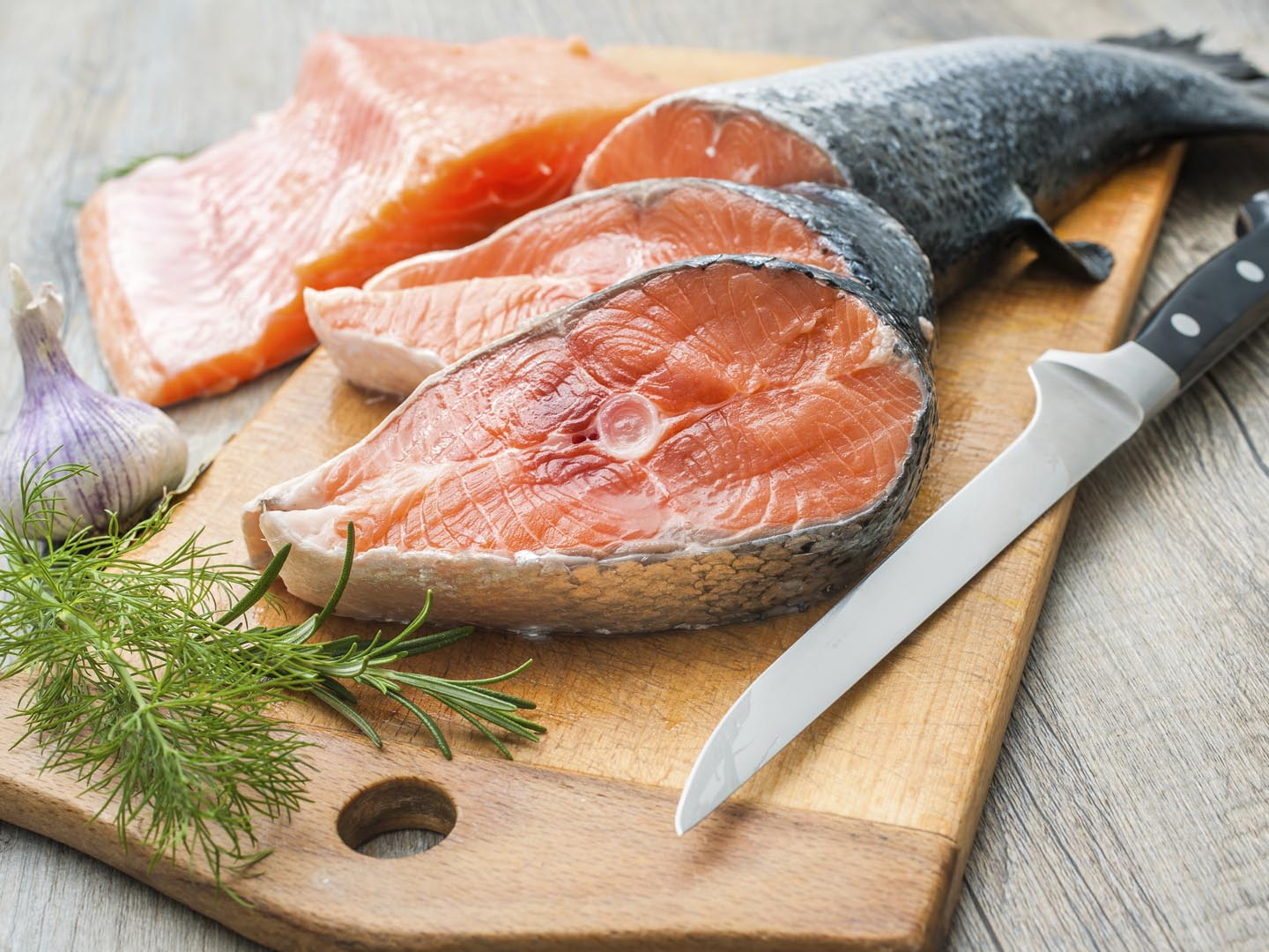 Raw Salmon Fish Steaks With Fresh