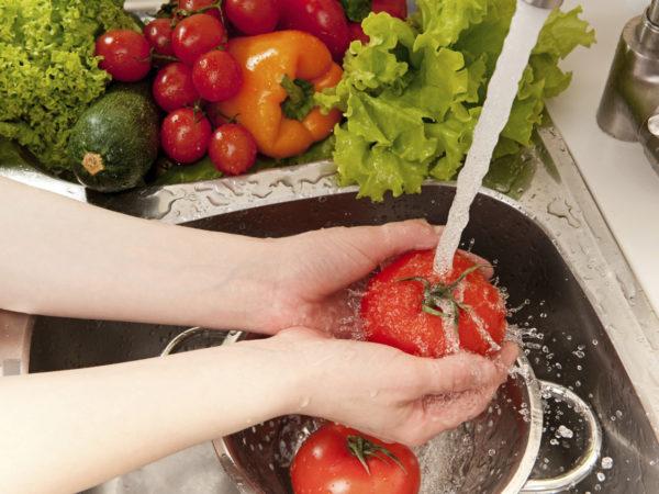 """""""Vegetables washing, splashing water, fresh salad preparation"""""""