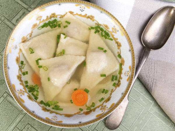 Jewish dumplings -  kreplach cooked in broth