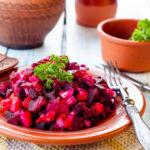Traditional Ukrainian beetroot salad Vinegret, vegetable salad