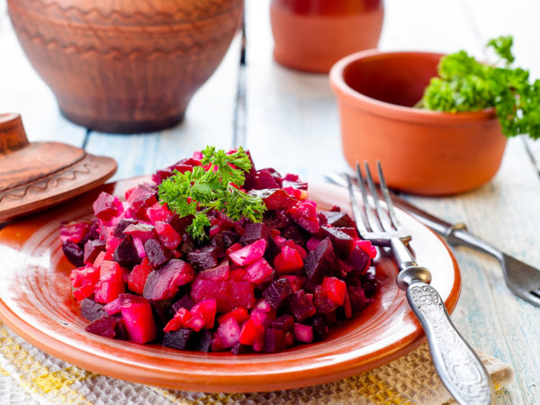 Traditional Ukrainian beetroot salad Vinegret, vegetable salad
