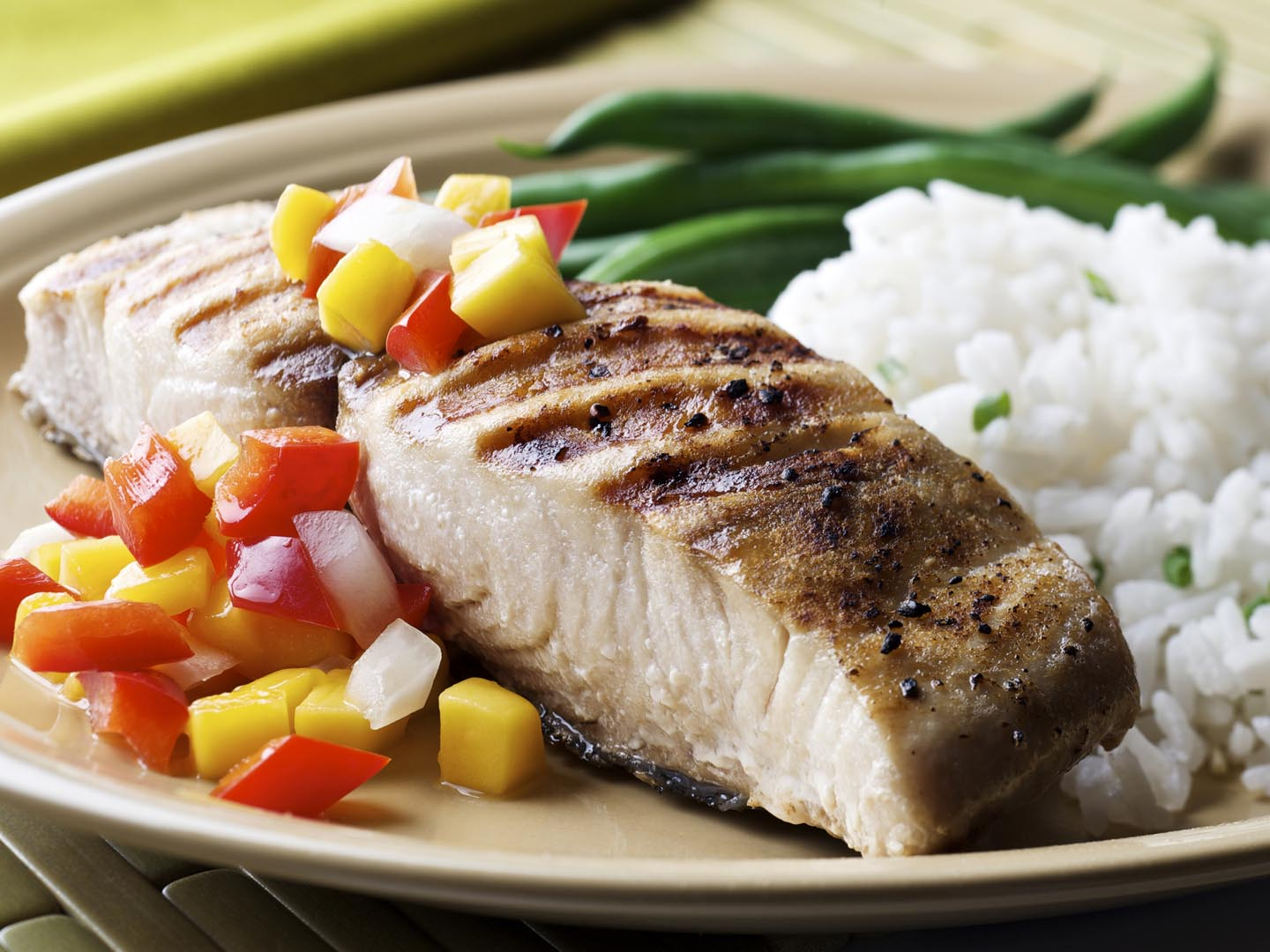 SEVERAL MORE IN THIS SERIES. Grilled cutlet (open steak cut) of mahi ...