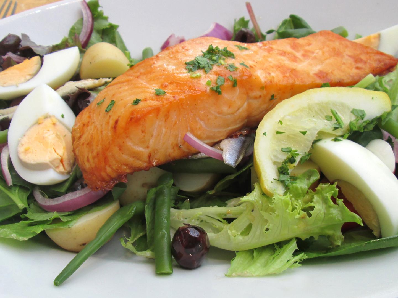 Salmon Nicoise With Olive, Spearmint And Caper Vinaigrette