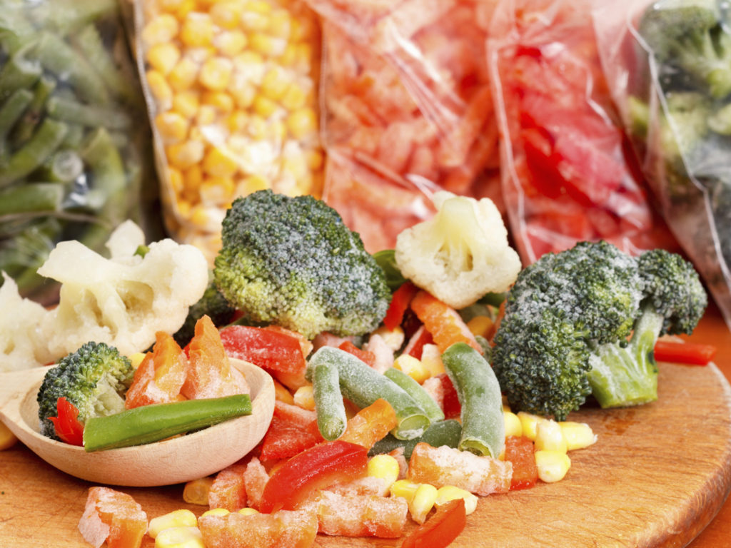 Mixed Frozen Vegetables On Cutting ...