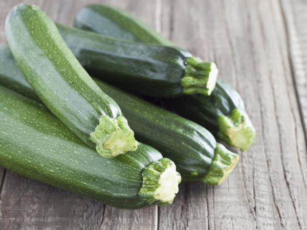 Zucchini on a wooden table