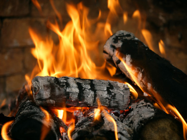 Close-up of real fire in a fireplace.