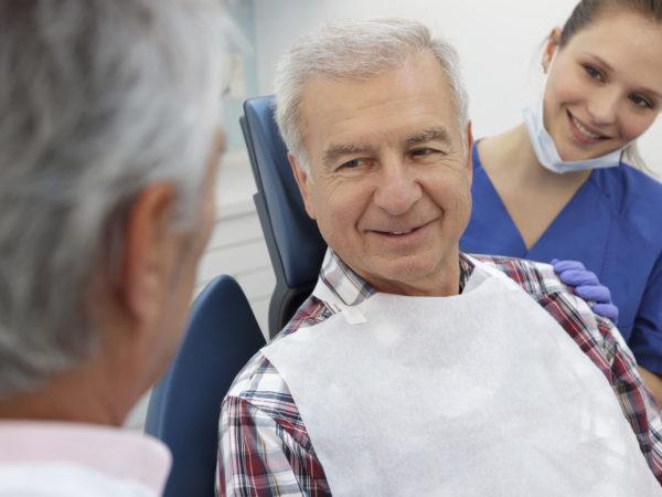 Senior patient in Dentist office.