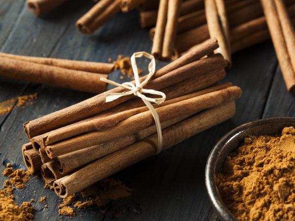 Organic Raw Brown Cinnamon on a Background