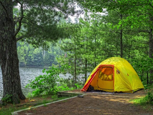 An image of a back country campsite in Voyageurs National Park, Northern Minnesota, USA.