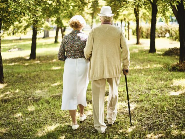 Happy seniors taking a walk in the park on sunny day