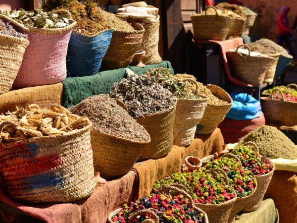 Market stall herbs and spices for sale near Palace El Badi.