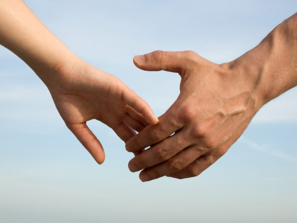 Gentle touch of hands