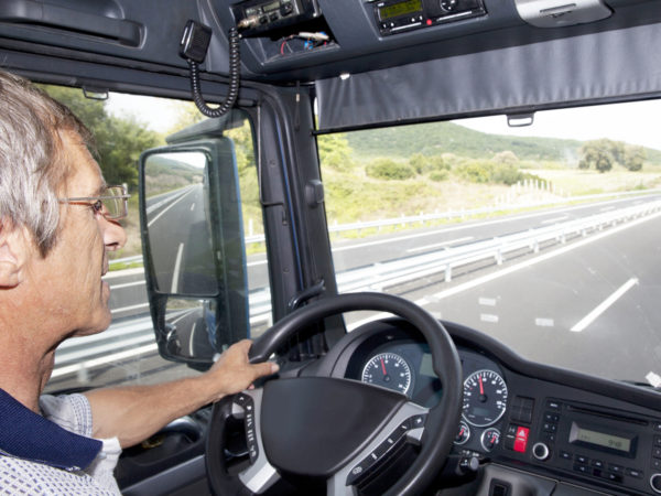 Truck driver on the highway