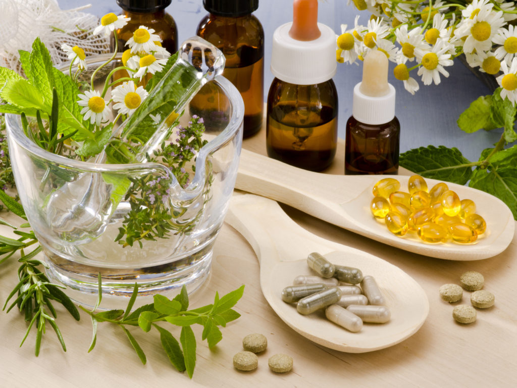 Alternative Medicine Rosemary Mint Chamomile Thyme In A Glass Mortar