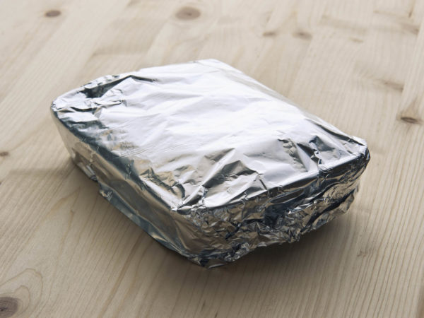 Tray with aluminum foil.
