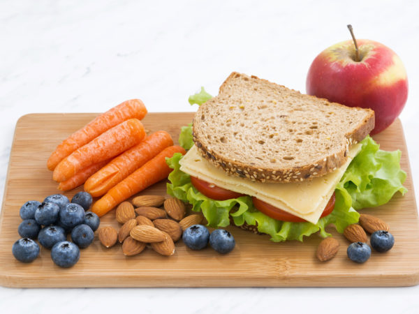 sandwich with of wholemeal bread on the school lunch, horizontal