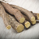 Licorice root close up on the wood