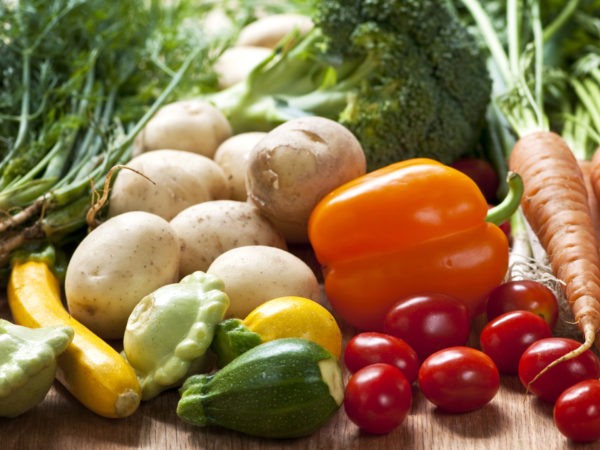 Bunch of whole assorted fresh organic vegetables