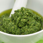 Basil pesto in a bowl