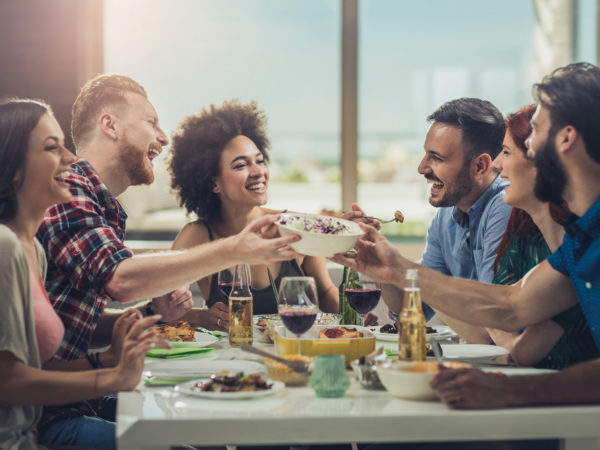 Stayin Connected, Staying Happy - Group of good friend, enjoying a meal